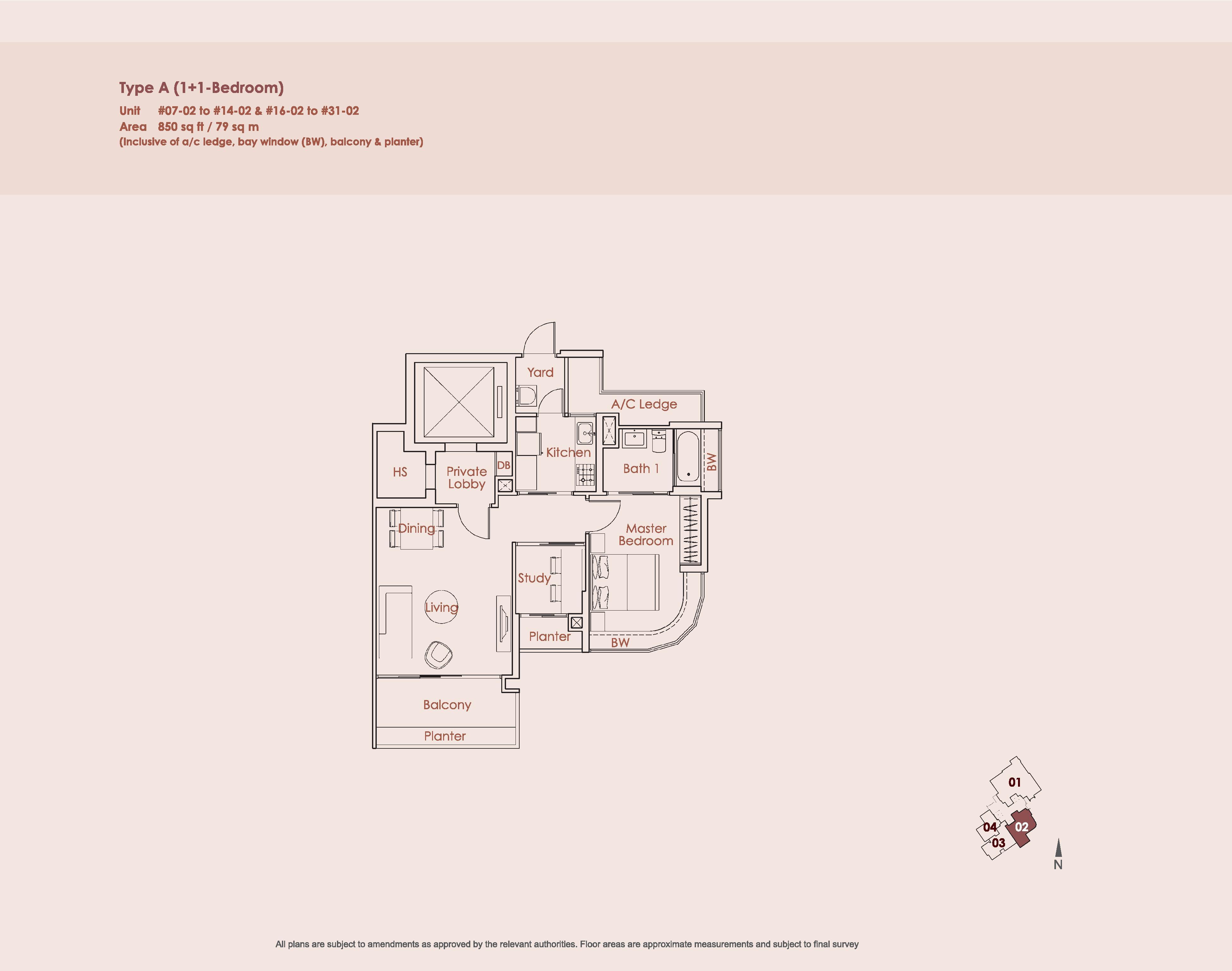 Starlight Suites Type A 1 Bedroom + Study Floor Plan