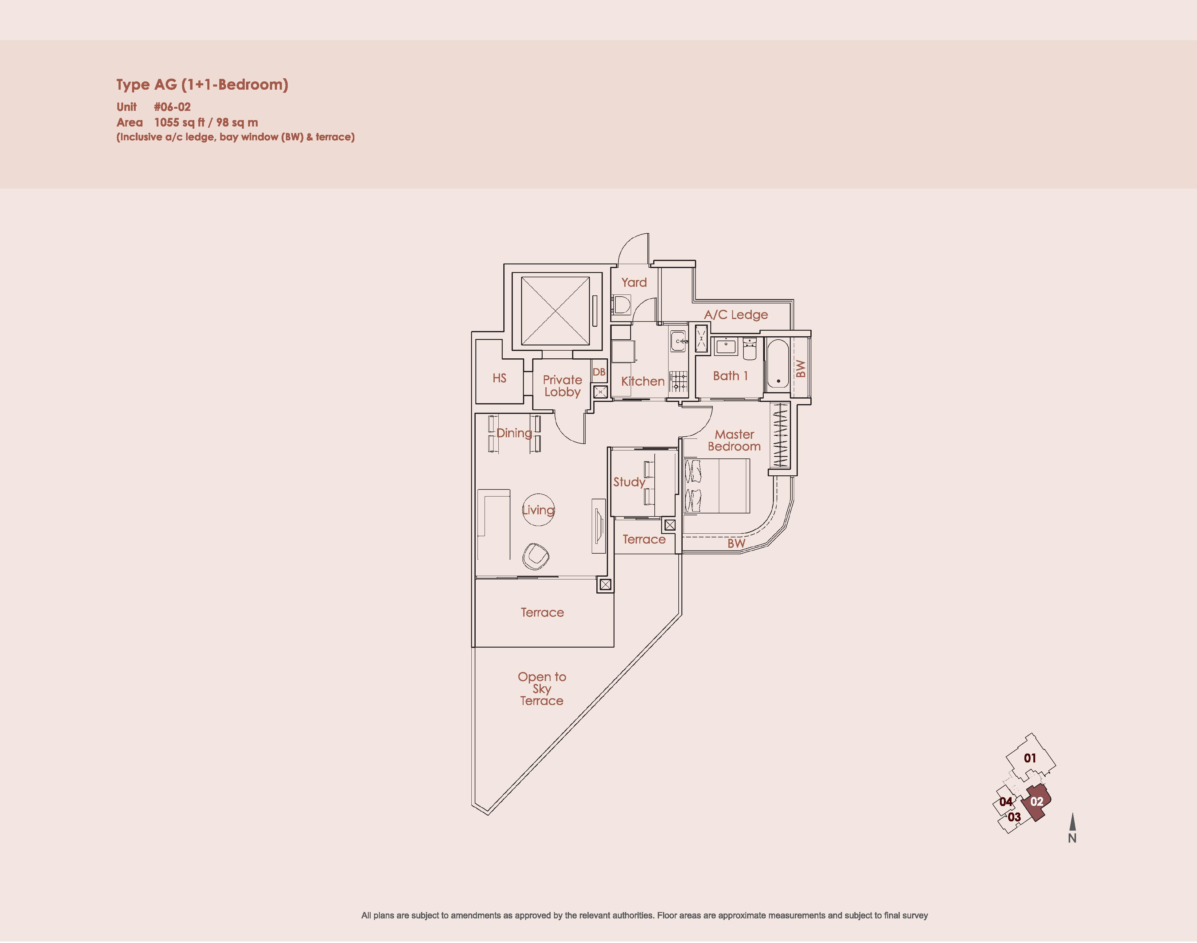Starlight Suites Type AG 1 Bedroom + Study Floor Plan