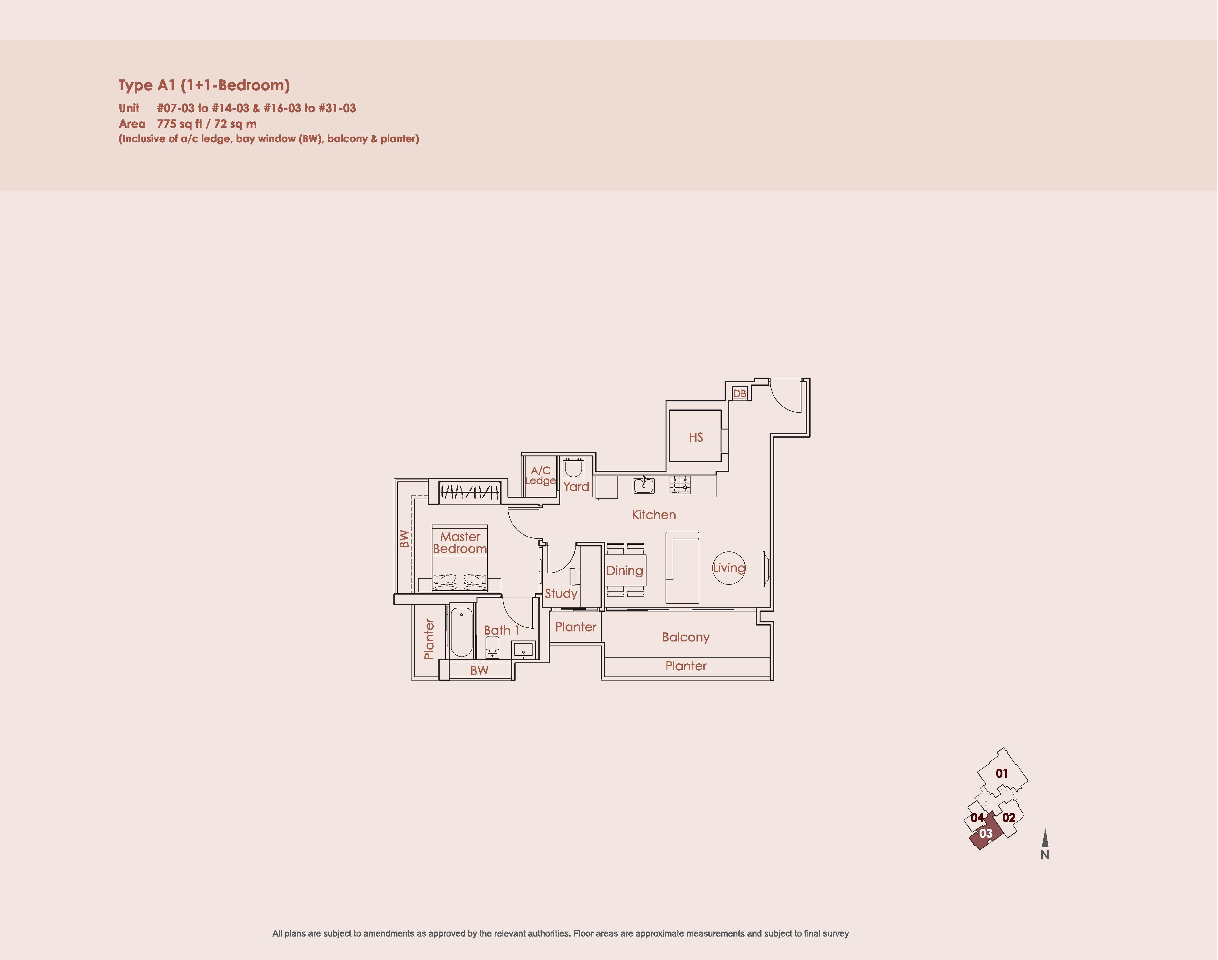 Starlight Suites Type A1 1 Bedroom + Study Floor Plan