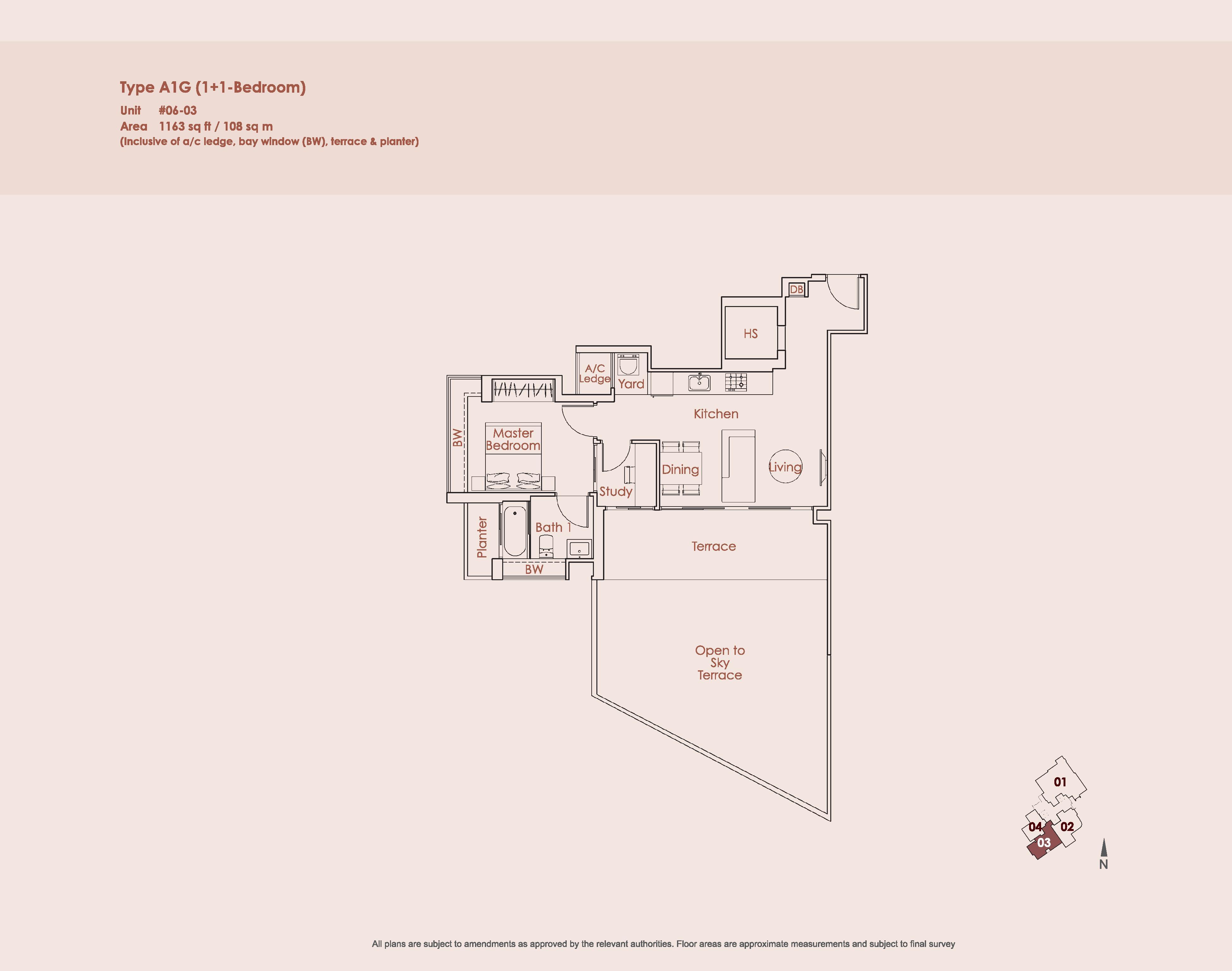 Starlight Suites Type A1G 1 Bedroom + Study Floor Plan